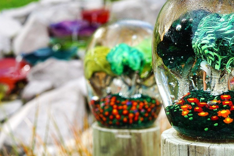 Lava Glass Sculpture Garden Tree Orbs
